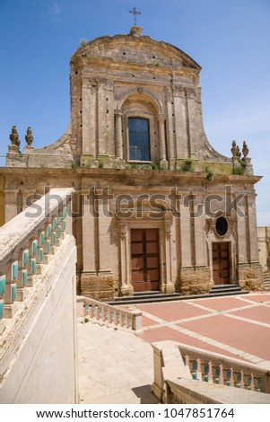 The facade of the church of Santa Maria del Monte in the baroque town of Caltagirone in Sicily, Italy