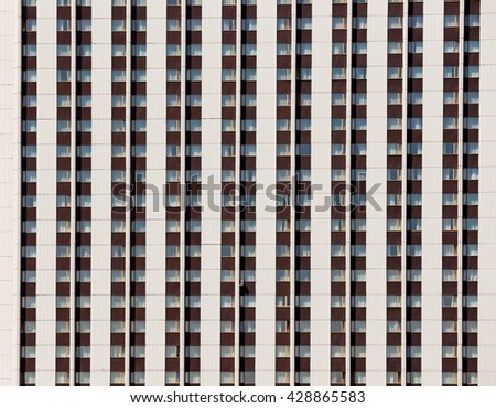 The facade of the hotel Izmailovo consisting of multiple windows. Moscow