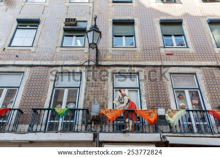 The facade of the house. Lisbon. Portugal. - stock photo