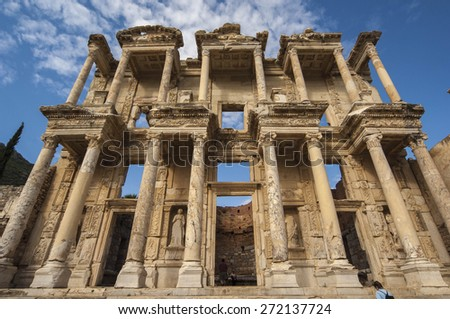 The facade of the Library in Ephesus, the Roman ruins near Kusadasi, Turkey - stock photo