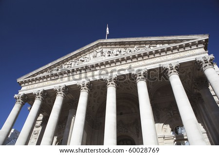 The facade of the London Stock Exchange. - stock photo