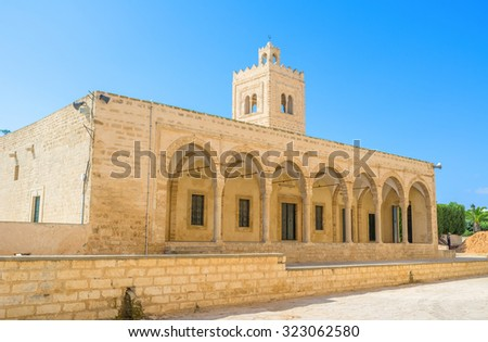 The facade of the medieval Grand Mosque, that is neighboring with Ribat citadel, Monastir, Tunisia.