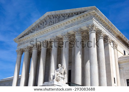 The facade of the United States Supreme Court building in Washington, D.C. - stock photo
