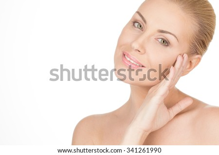 The face of beauty. Studio portrait of a beautiful middle aged woman  - stock photo