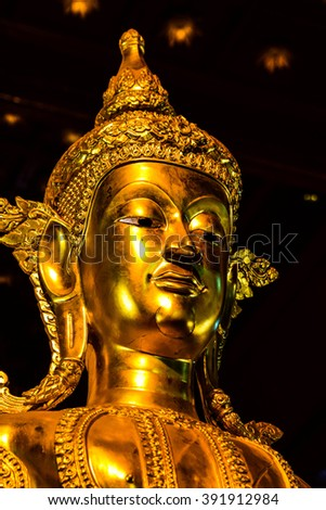 The face of golden Buddha
