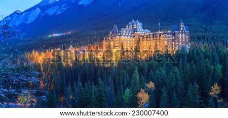 The Fairmont Banff Springs Hotel at night. - stock photo