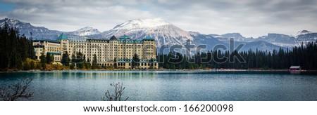 The Fairmont Chateau Lake Louise - stock photo