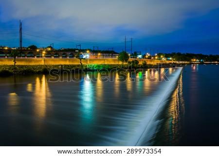 The Fairmount Water Works at night, in Philadelphia, Pennsylvania. - stock photo