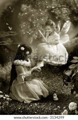 The Fairy-tale night. Two young girls try the small shoes and laugh.  The photography is made in studio. After processing in editor. All detail on photo take from the personal archive - stock photo