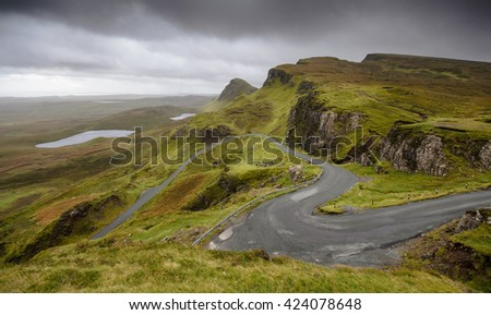 The fairytale landscape of the Quiraing on the Isle of Skye in the Highlands of Scotland. - stock photo