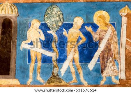 Romanesque Wallpainting Adam Eve Expelled Paradise Stock