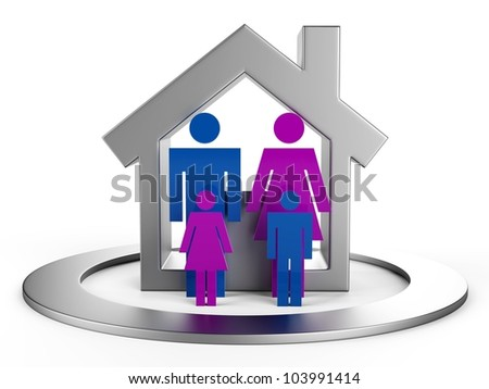 The family in the house conceptually... 3D images...