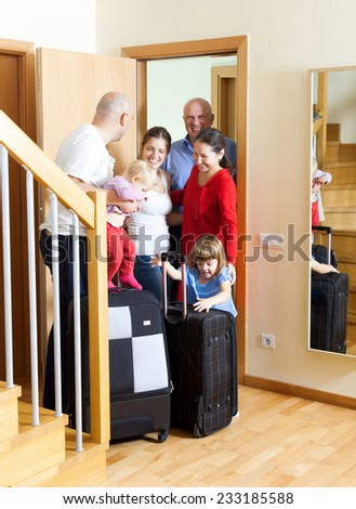 The Family Meeting. Family arrived to visit relatives - stock photo