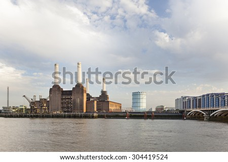 The famous abandoned Battersea Power Station in London in the evening - stock photo