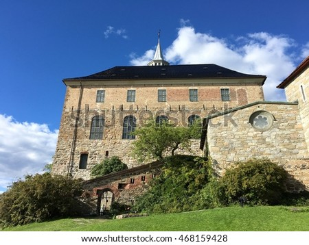 The famous Akershus Fortress in Oslo, the capital of Norway.