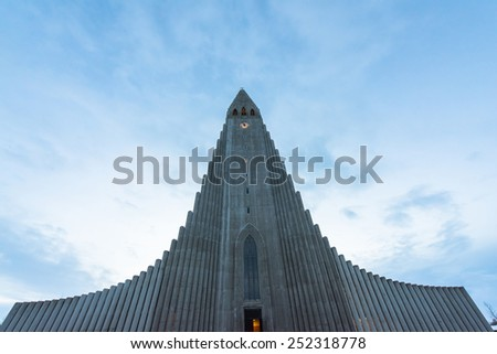 The famous and beautiful large church Hallgrimskirkja in Icelands capital Reykjavik - stock photo