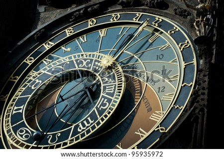 The famous astronomical clock of the old Prague's town hall with the signs of zodiac. - stock photo
