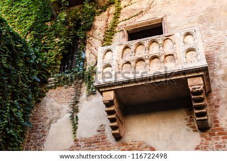 The Famous Balcony of Juliet Capulet Home in Verona, Veneto, Italy - stock photo