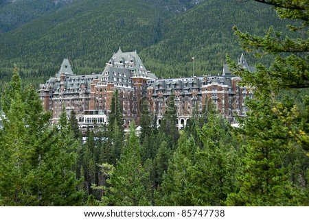 The famous Banff Spring Hotel in the Canadian Rockies - stock photo