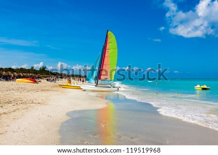 The famous beach of Varadero in Cuba on a beautiful summer day - stock photo