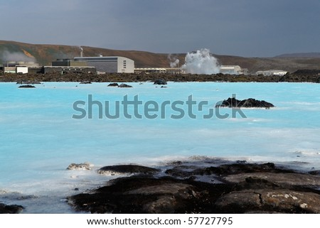 The famous Blue Lagoon near Reykjavik with the geothermal powerplant - stock photo