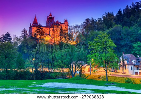 The famous Bran castle with stunning lights in the evening,Transylvania,Romania - stock photo