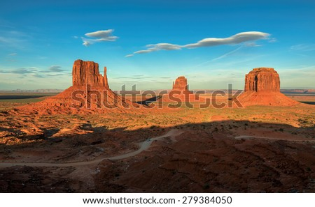 The famous Buttes of Monument Valley, Arizona, USA - stock photo