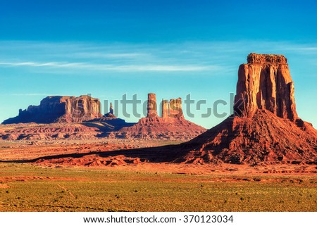 The famous Buttes of Monument Valley at sunrise, Arizona, USA