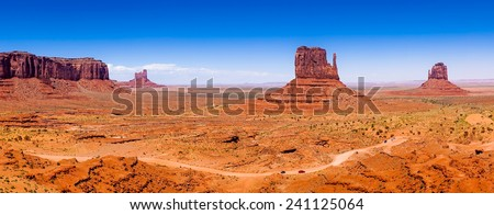 The famous Buttes of Monument Valley, Utah, USA, panoramic view - stock photo