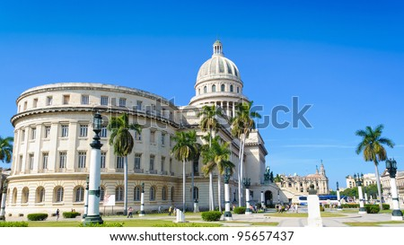 The famous Capitol of Havana in a summer afternoon