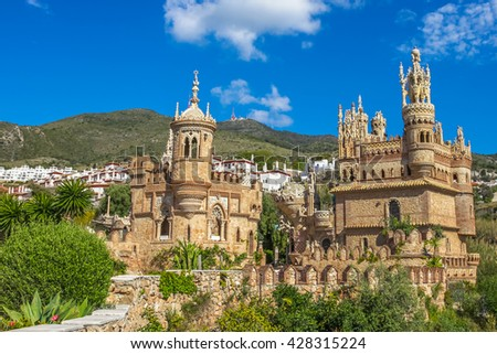 The famous Castillo de Colomares is a monument similar to a fairytale castle, dedicated to Christopher Columbus. Benalmadena, near Malaga in Andalusia, Spain. - stock photo