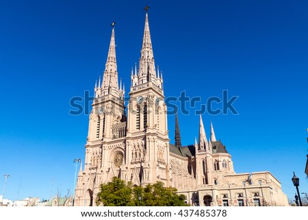 The famous cathedral of Lujan in the province of Buenos Aires, Argentina - stock photo