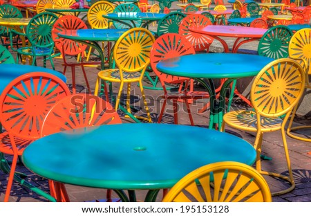 The famous chairs and tables at the University of Wisconsin Union Terrace - stock photo