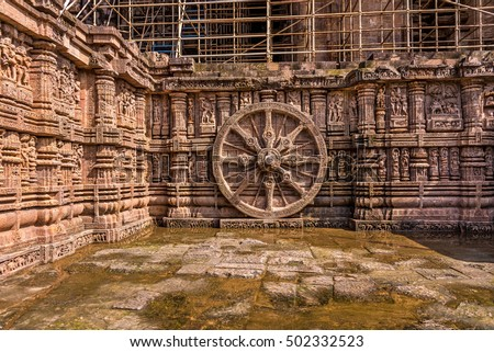 The famous chariot wheel in the ancient Sun temple of Konark which was built in 13th century and is a world heritage site.