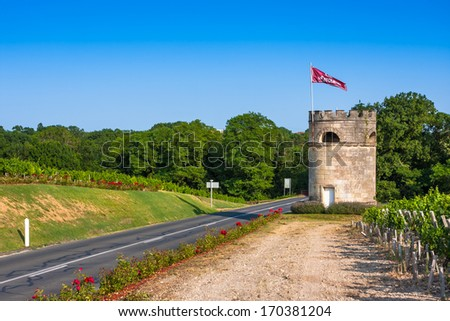 The famous Chateau Cos D'Estournel, Bordeaux Region, France - stock photo