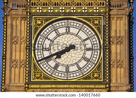 The famous clock face of Big Ben (The Houses of Parliament) in London. - stock photo