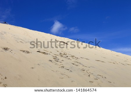 The Famous dune of Pyla, the highest sand dune in Europe, in Pyla Sur Mer, France. - stock photo