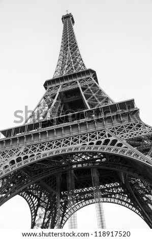 The famous Eiffel Tower  in Paris. Black and white photo - stock photo