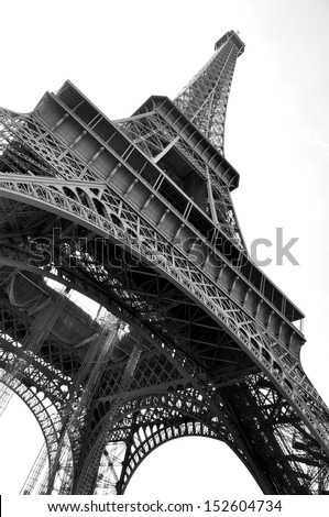 The famous Eiffel Tower  in Paris. Black and white photo