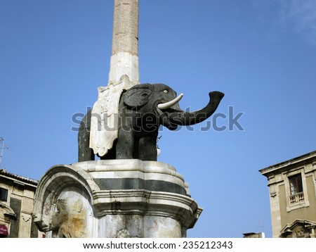The famous elephant statue of Catania, Sicily, ITALY