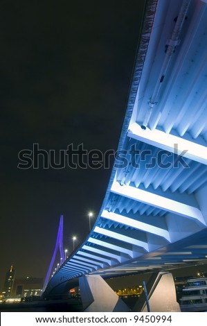 The famous Erasmus suspension bridge in Rotterdam, the Netherlands, seen from below. - stock photo