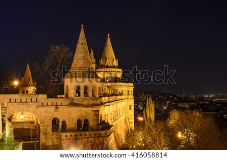 The famous Fishermen Bastion in Budapest an night - stock photo
