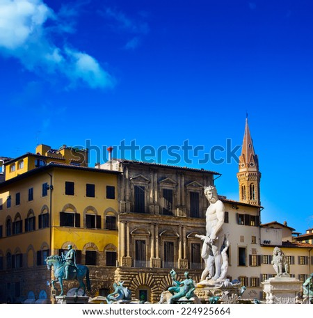 The famous fountain of Neptune on Piazza della Signoria in Florence, Italy  - stock photo