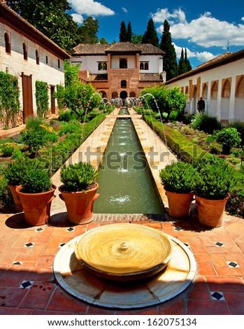 The famous Generalife in Granada, Spain  - stock photo