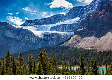 The famous Glacier Crowfoot over Bow River. Canada, the Rocky Mountains, Banff National Park - stock photo