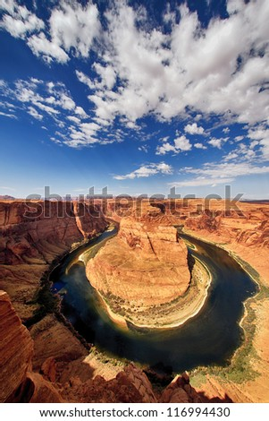 the famous Horse Shoe Bend at Utah, USA - stock photo