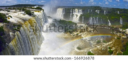 the famous Iguazu Falls on the border of Brazil and Argentina - stock photo