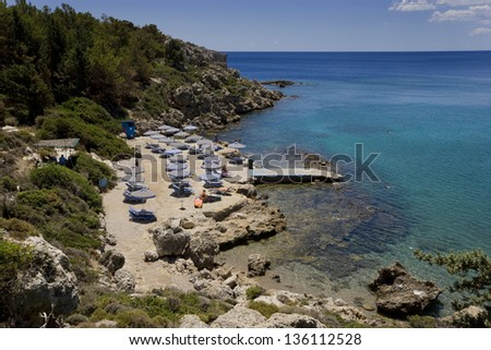 The famous Ladiko beach in the island of Rhodes, Greece - stock photo