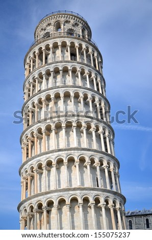 The famous Leaning Tower on Square of Miracles in Pisa, Tuscany in Italy