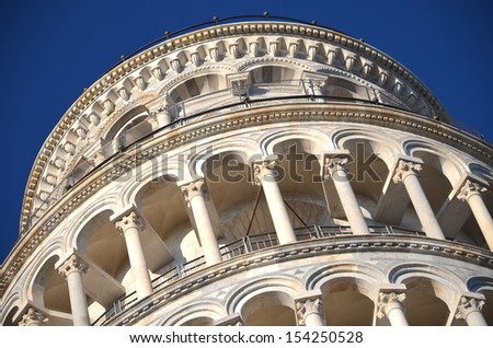 The famous Leaning Tower on Square of Miracles in Pisa, Tuscany - Italy - stock photo